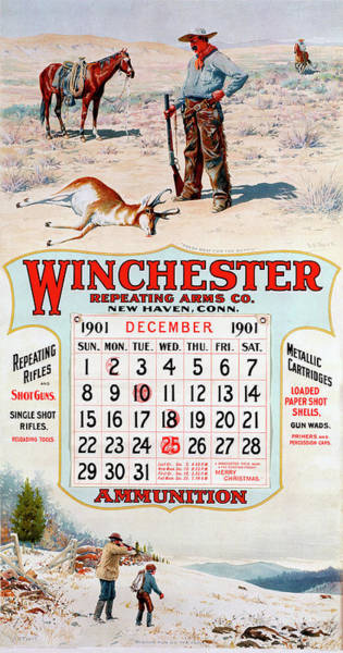 Wall Art - Painting - 1901 Winchester Repeating Arms And Ammunition Calendar by A B Frost