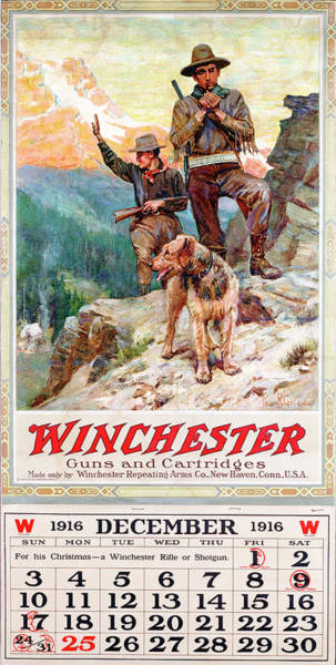 Painting - 1916 Winchester Repeating Arms And Ammunition Calendar by Philip R Goodwin