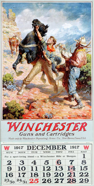 Painting - 1917 Winchester Repeating Arms And Ammunition Calendar by W R Leigh
