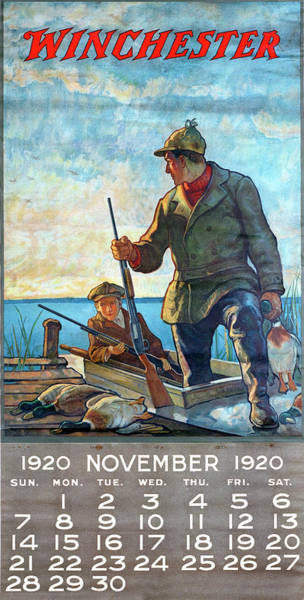 Painting - 1920 Winchester Repeating Arms And Ammunition Calendar by Unknown