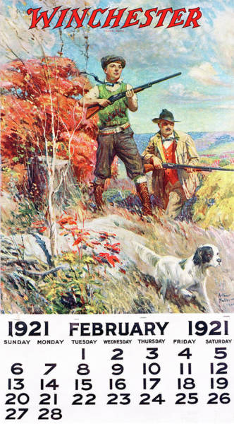 Painting - 1921 Winchester Repeating Arms And Ammunition Calendar by Arthur S Fulton