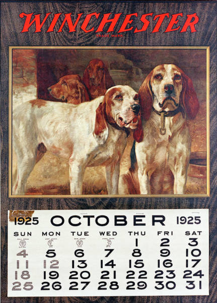 Painting - 1925 Winchester Repeating Arms And Ammunition Calendar by H R Poore