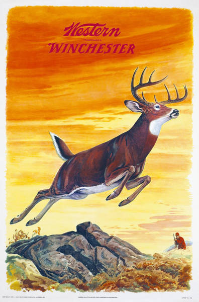 Wall Art - Painting - Winchester Western Whitetail Hunter by J G Woods