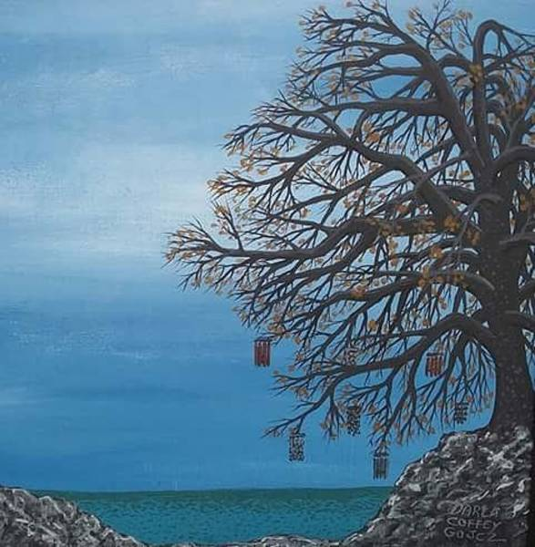 Wind Chime Painting - Wind Chimes By The Sea by Darla Coffey Gojcz