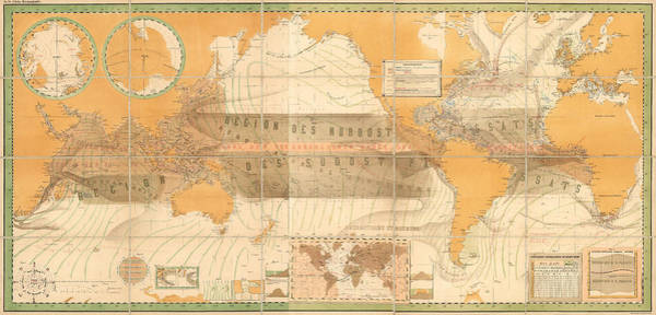 Wind Drawing - Wind Map Of The World - Meteorological Chart - Historic Chart Of The Wind Currents - Old Atlas by Studio Grafiikka