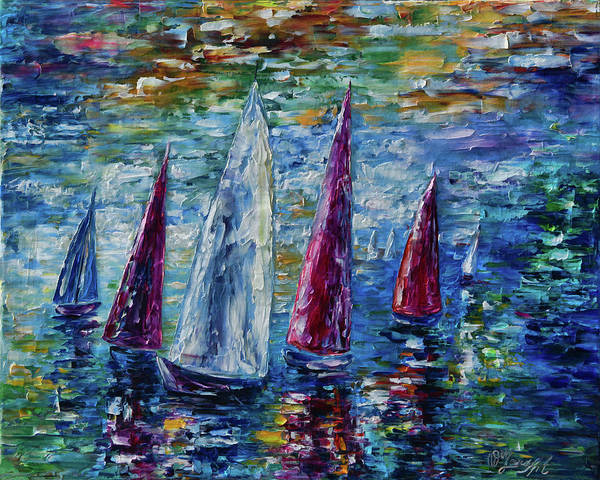 Painting - Wind On Sails  by OLena Art - Lena Owens