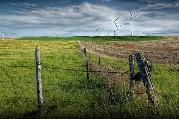 Photograph - Wind Turbines In A Southern Alberta Farm Field With Barb Wire Fence by Randall Nyhof
