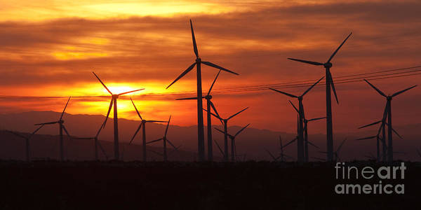 Photograph - Wind Turbines Sunrise Panoramic by Clarence Holmes
