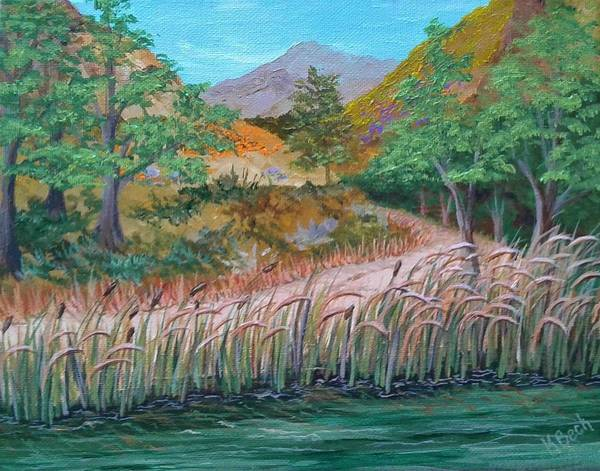 Bullrush Painting - Wind Wolf Preserve Pond by Katherine Young-Beck