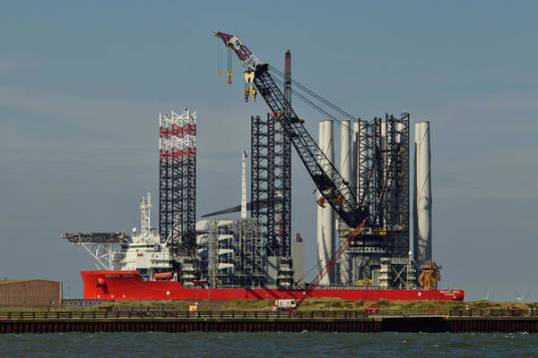 Photograph - Windfarm Installation Vessel Loading by Paul Cowan