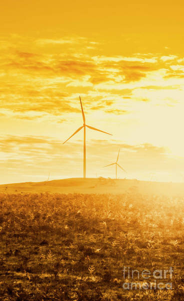 Portland Photograph - Windfarm Sunset by Jorgo Photography - Wall Art Gallery