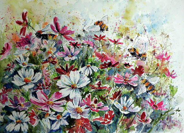 Cosmos Painting - Windflowers With Bees by Kovacs Anna Brigitta