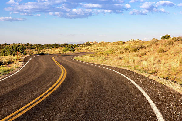 Winding Desert Road At Sunset Art Print