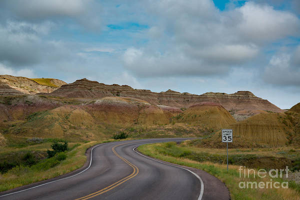 Mound Photograph - Winding Roads Through Yellow Mounds At Badlands  by Michael Ver Sprill