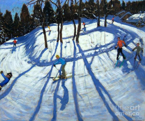 Snow Ski Wall Art - Painting - Winding Trail Morzine by Andrew Macara