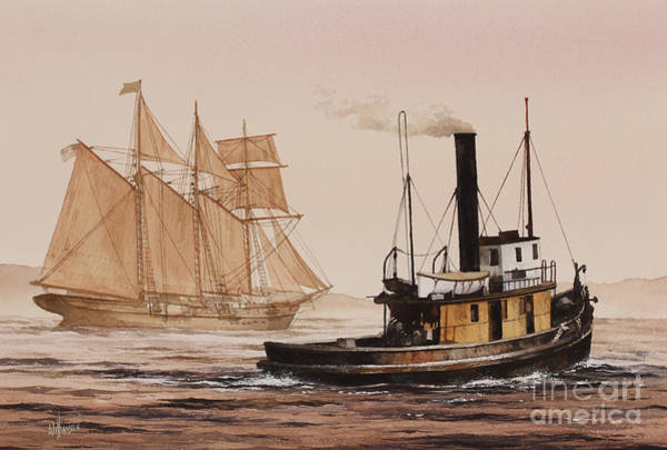 Wall Art - Painting - Windjammer Steam Tug Assist by James Williamson