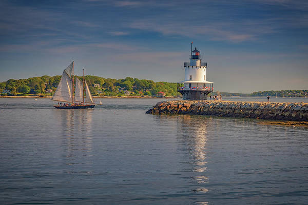 Wall Art - Photograph - Windjammer At Spring Point Ledge Lighthouse by Rick Berk