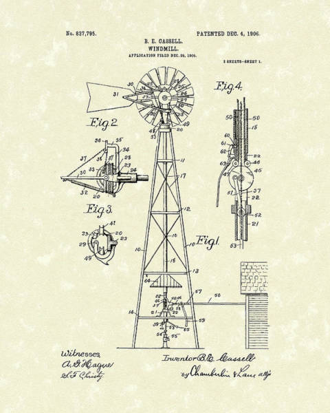 Drawing - Windmill 1906 Patent Art by Prior Art Design