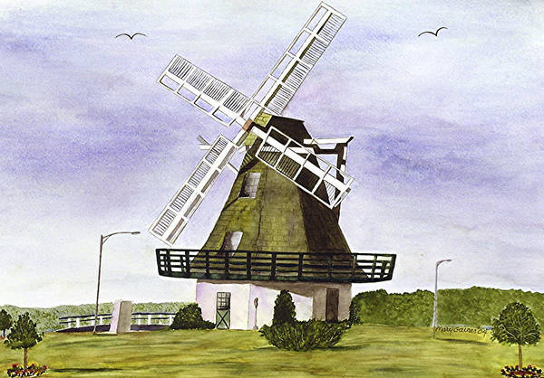 Oak Harbor Painting - Windmill At City Beach by Mary Gaines