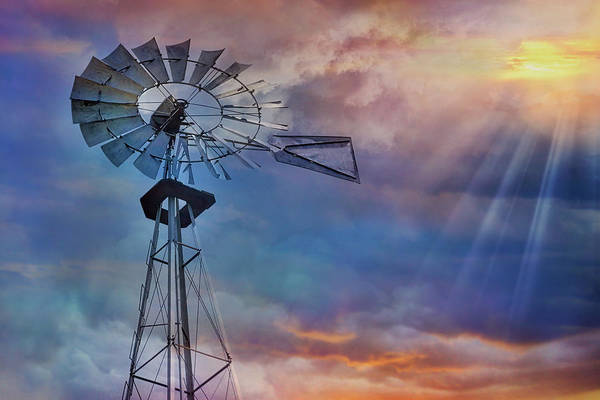Photograph - Windmill At Sunset by Susan Candelario