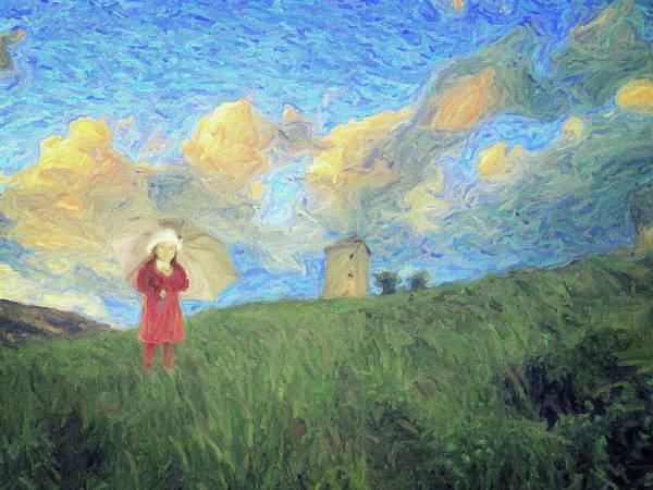Wall Art - Painting - Windmill Girl by Zapista Zapista