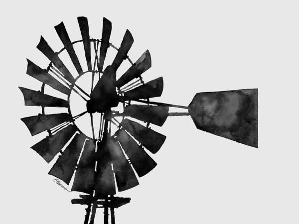 T-shirts Painting - Windmill In Black And White by Hailey E Herrera