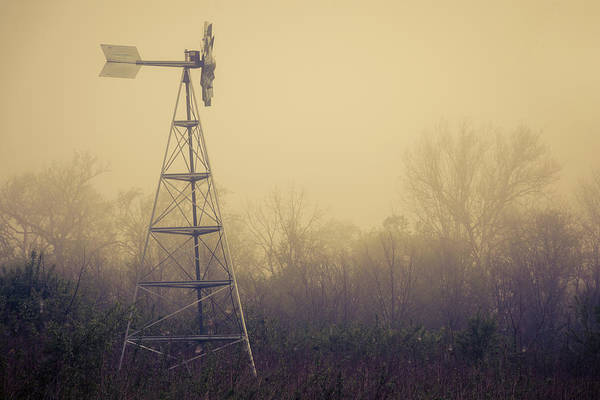 Misty Wall Art - Photograph - Windmill In The Foggy Dawn by Tom Mc Nemar