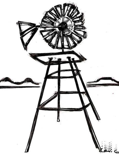 Electronica Drawing - Windmill by Levi Glassrock