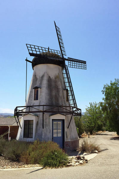 Solvang Photograph - Windmill With Blue Door by Art Block Collections