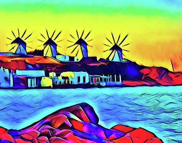 Windmills At Mykonos Art Print