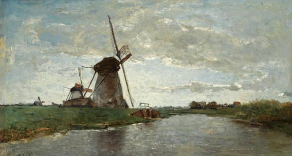 Gabriel Painting - Windmills In A Polder Landscape by Paul Gabriel