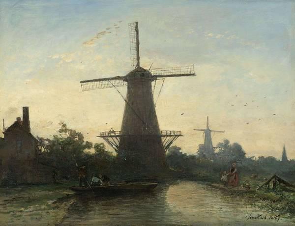 Painting - Windmills Near Rotterdam, Johan Barthold Jongkind, 1857 by Artistic Panda
