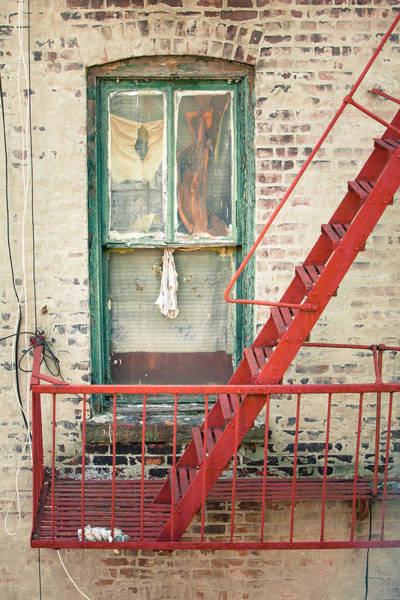 Photograph - Window And Red Fire Escape by Gary Heller