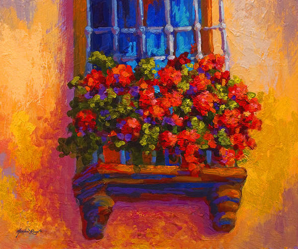 Red Poppies Wall Art - Painting - Window Box  by Marion Rose