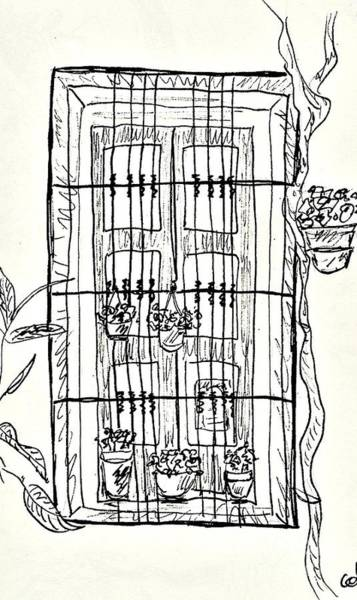 Balneario Wall Art - Drawing - Window In The Old Center Of Lanjaron by Chani Demuijlder