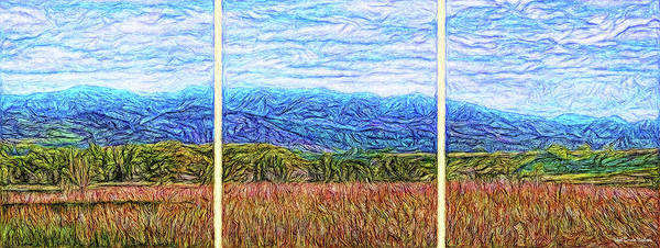 Digital Art - Window Of A Blue Mountain Dream - Triptych by Joel Bruce Wallach