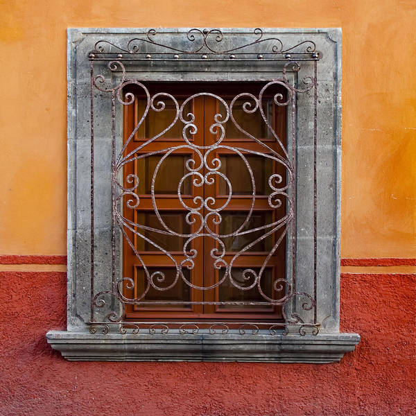 Wall Art - Photograph - Window On Orange Wall San Miguel De Allende by Carol Leigh