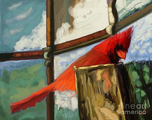 Red Cardinal Drawing - Window To The World by Carrie Joy Byrnes