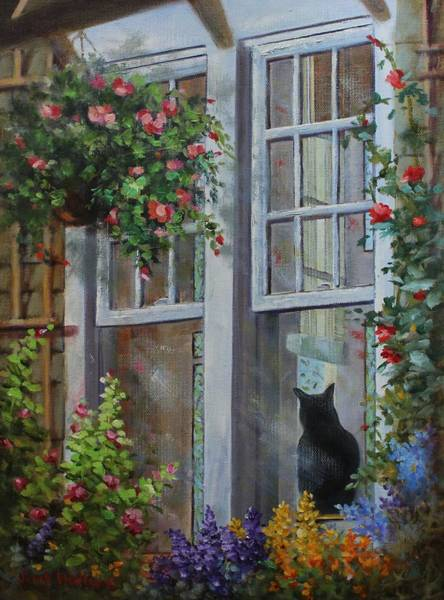 Painting - Window Watcher by Judy Bradley