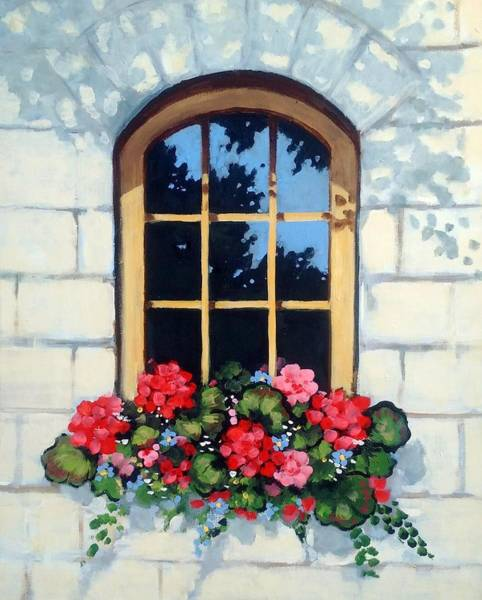 Wall Art - Painting - Window With Flower Box by Joyce Geleynse