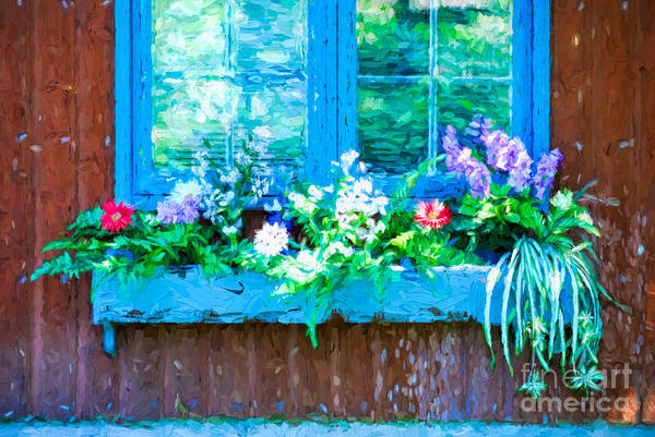 Photograph - Window With Flowerbox by Les Palenik