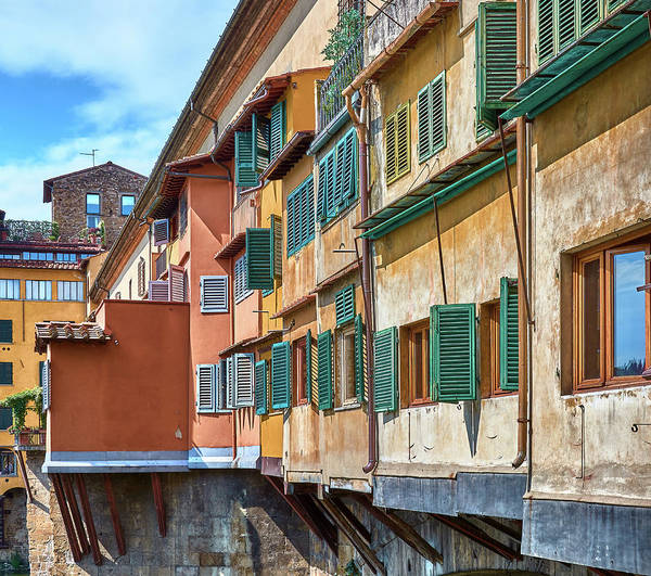 Photograph - Windows And Details Of Ponte Vecchio In Florence, Italy by Fine Art Photography Prints By Eduardo Accorinti