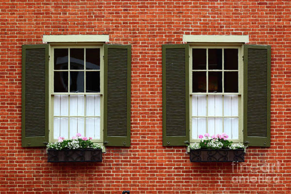 Photograph - Windows And Shutters In Frederick Maryland by James Brunker
