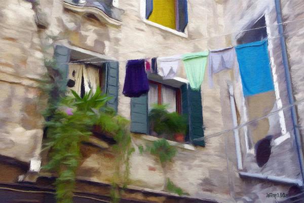 Clothesline Painting - Windows Of Venice by Jeffrey Kolker
