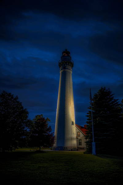 Photograph - Windpoint Lighthouse After Dark by Dale Kauzlaric