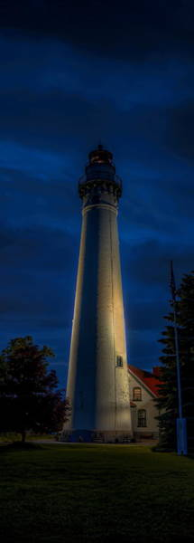 Photograph - Windpoint Lighthouse Under Lights by Dale Kauzlaric