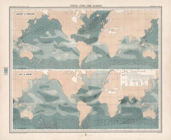 Wind Drawing - Winds Over The Oceans - Meteorological Map - Geological Map - Wind Direction And Speed Chart by Studio Grafiikka