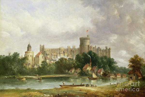 Castles Painting - Windsor Castle - From The Thames by Alfred Vickers