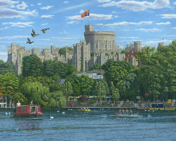 Wall Art - Painting - Windsor Castle From The River Thames by Richard Harpum