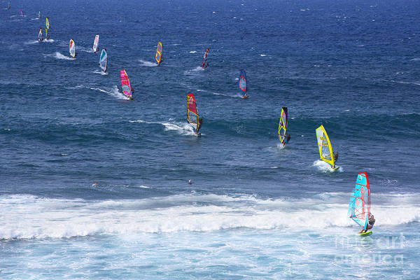 Windsurfing Photograph - Windsurfing In Maui Hawaii by Diane Diederich